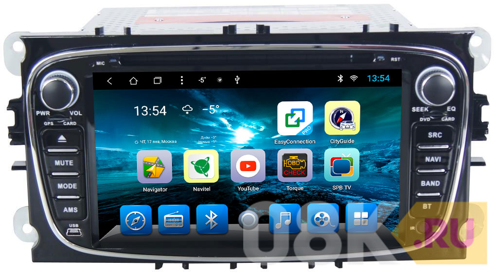 Штатная автомагнитола Ford Mondeo/Focus 2/S-max/Galaxy... на Android 8.1 CARMEDIA KR-7005-T8